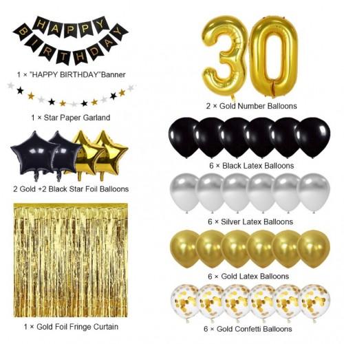 Schwarz und Gold 30. Geburtstag Dekorationen
